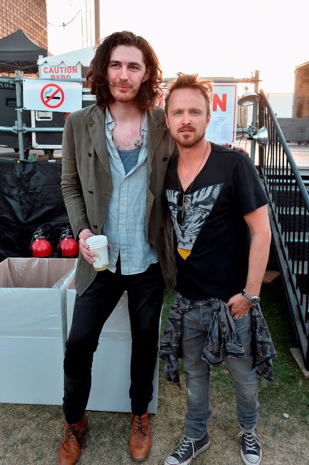 Musician Hozier (L) and actor Aaron Paul attend day 2 of the 2015 Coachella Valley Music & Arts Festival (Weekend 1) at the Empire Polo Club on April 11, 2015 in Indio, California. (Photo by Kevin Winter/Getty Images)