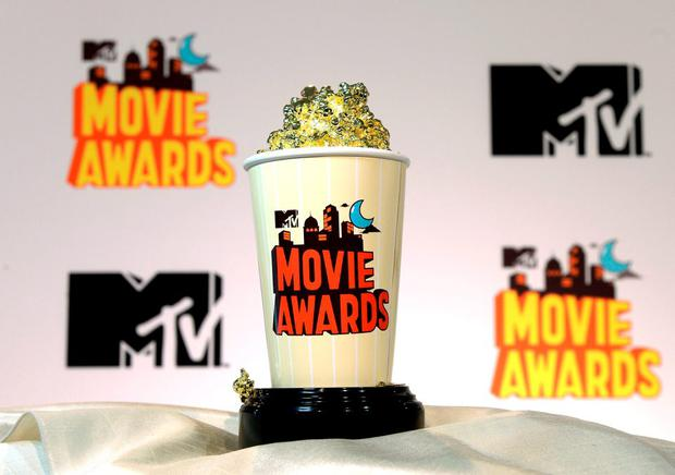 LOS ANGELES, CA - APRIL 9: The 2015 MTV Movies Awards' Golden Popcorn trophy is displayed during MTV Movie Awards press junket April 9, 2015, in Los Angeles, California. (Photo by Kevork Djansezian/Getty Images for MTV)