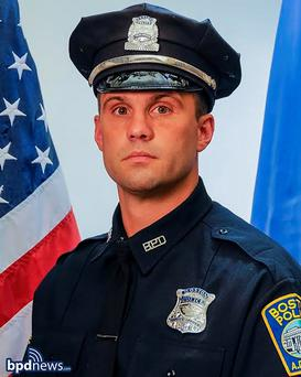 Boston police officer John Moynihan, 34, is seen in an undated picture released by the Boston Police Department in Boston, Massachusetts March 28, 2015. REUTERS/Boston Police Department/Handout