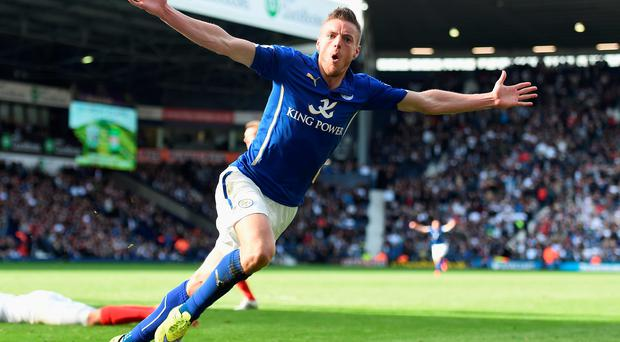 Leicester's Jamie Vardy celebrates scoring the winner late on at The Hawthorns