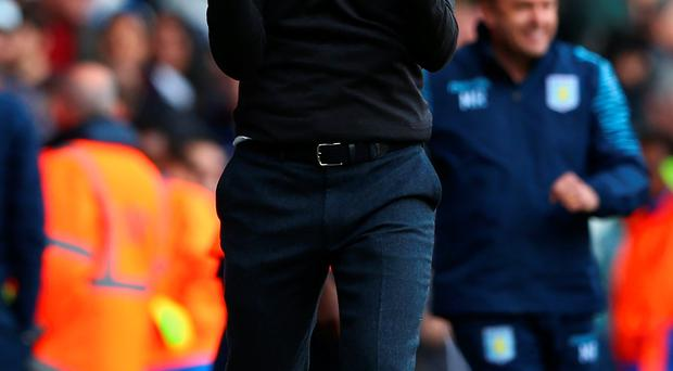 Manager Tim Sherwood celebrates at the final whistle after Aston Villa clinch a vital 3 points away from home