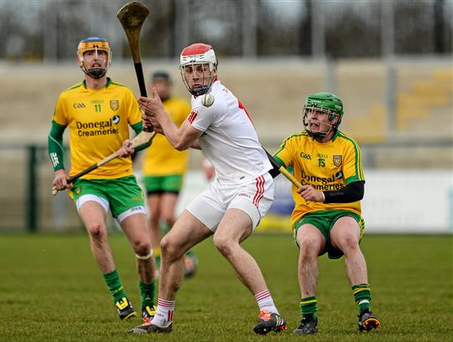 Damien Casey, Tyrone, in action against Bernard Lafferty, Donegal. Allianz Hurling League Division 2B Promotion / Relegation Play-off, Donegal v Tyrone, Owenbeg, Derry (Oliver McVeigh / SPORTSFILE)
