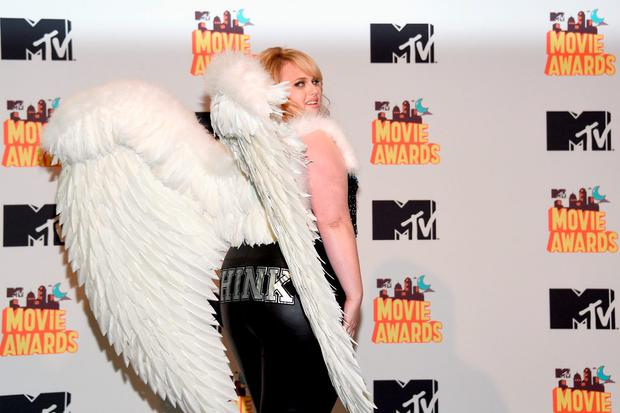 Actress Rebel Wilson poses in the press room during The 2015 MTV Movie Awards at Nokia Theatre L.A. Live