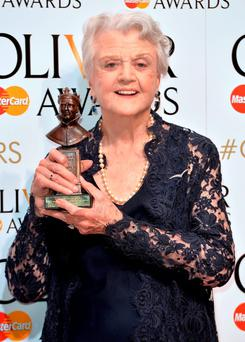 Dame Angela Lansbury poses in the winners room at The Olivier Awards at The Royal Opera House on April 12, 2015 in London, England. (Photo by Anthony Harvey/Getty Images)