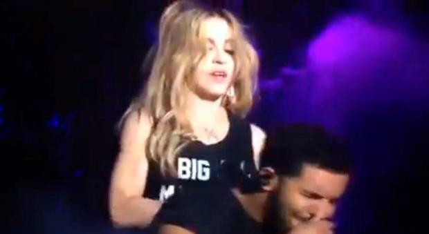 Drake grimaces following Madonna' surprise kiss at Coachella