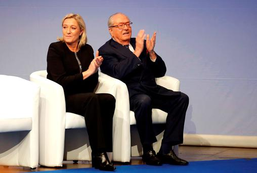 French far-right Front National leader Marine Le Pen and her father Jean-Marie Le Pen. Photo: AP