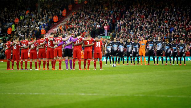 General view as a minutes silence is observed by the players for the Hillsborough disaster before the game Reuters / Andrew Yates Livepic