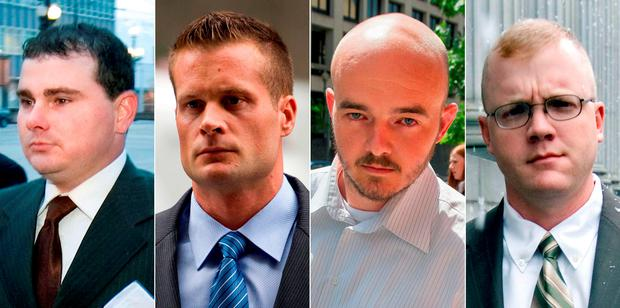 Blackwater guards, from left, Dustin Heard, Evan Liberty, Nicholas Slatten and Paul Slough. A years-long legal fight over a deadly mass shooting of civilians in an Iraq war zone reaches its reckoning point, when the former Blackwater security guards are sentenced for the rampage. Photo: AP