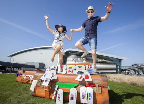 Emma Marshall and Shane O'Sullivan launching the Summer schedule at Dublin Airport. The airport has the fastest Wi-Fi in Europe, a new study reveals.