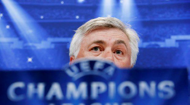 Real Madrid's coach Carlo Ancelotti attends a news conference at Valdebebas sports grounds in Madrid, April 13, 2015