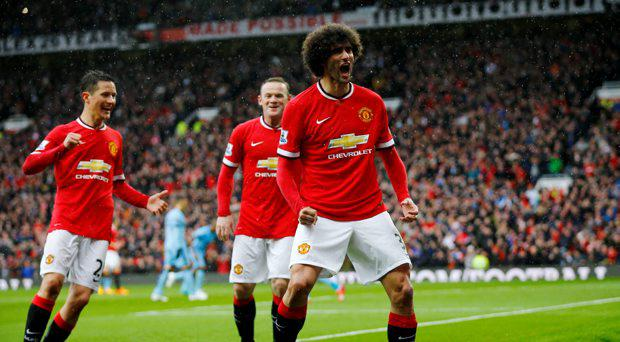 Marouane Fellaini celebrates scoring the second goal for Manchester United in the derby at the weekend
