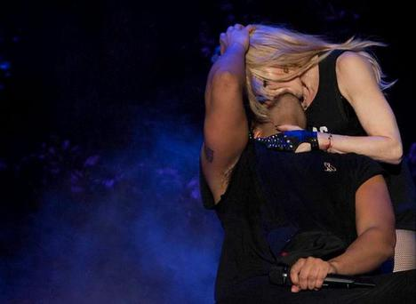 Drake kissing Madonna on stage at Coachella. Pic Drake/Instagram