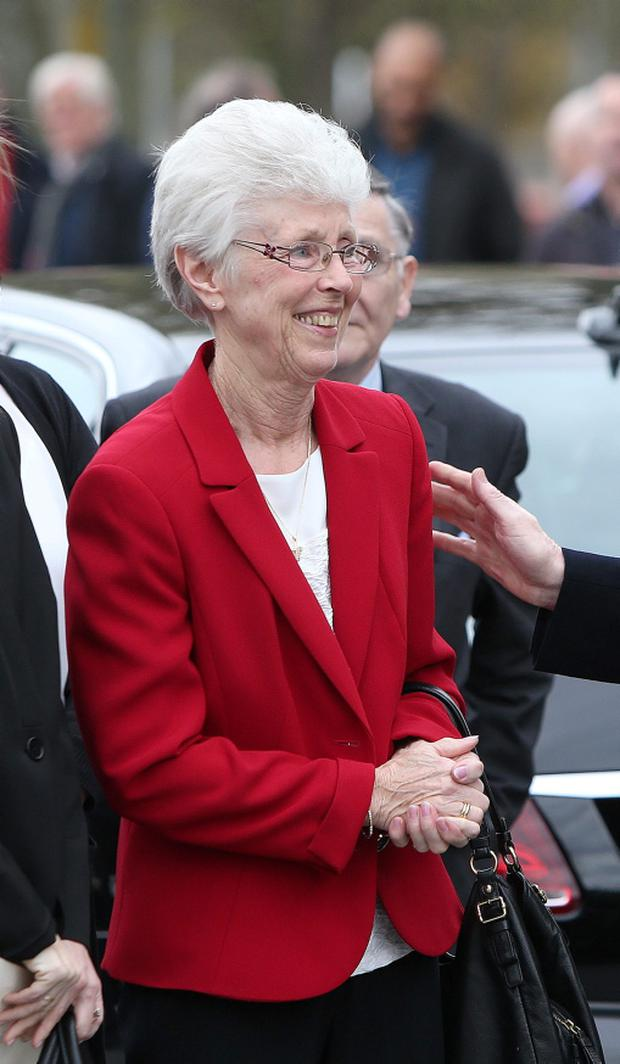 Jenny Treacy at the funeral of her husband, Ray