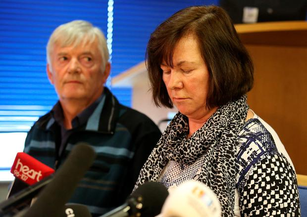 Marian and John Buckley, parents of missing girl Karen Buckley, make a statement during a press conference at Govan Police Office in Glasgow
