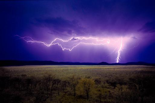Lightning strike in Serengeti, Tanzania