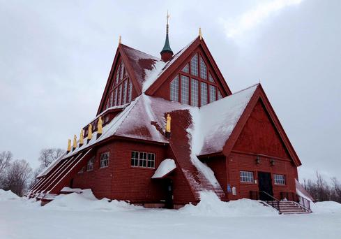 The church of Kiruna town in the Swedish Arctic. A Swedish company will start dismantling and moving the historic Arctic town of Kiruna this month to make way for the expansion of Europe's biggest iron ore mine. Photo: Reuters