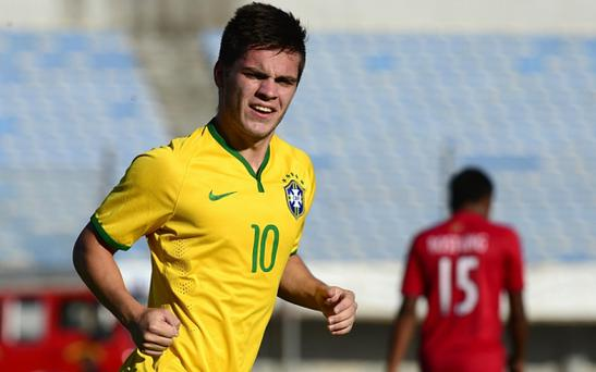 Brazil's midfielder Nathan celebrates his goal against Peru during their South American U-20 football match in February