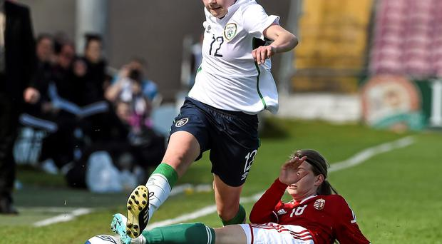 Ireland's Sarah McKevitt in action against Timea Pilan of Hungary during their elite qualifying phase fixture at Turners Cross last night