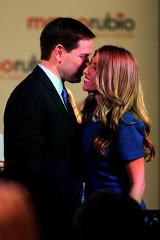 US Republican Senator from Florida Marco Rubio speaks with his wife Jeanette as he announces his presidential candidacy at The Freedom Tower in Miami, Florida. Photo: Getty Images