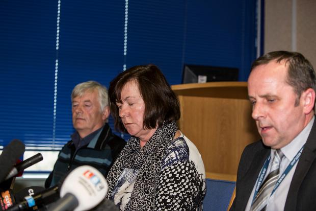 John and Marian Buckley at a press briefing at Govan Police station for the whereabouts of their daughter Karen who went missing in Glasgow