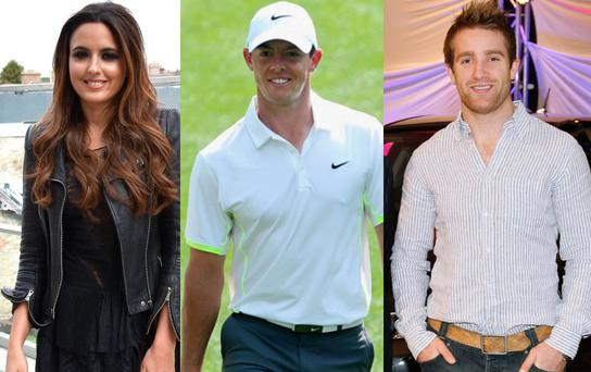Nadia Forde (left) with exes Rory McIlroy (centre) and Luke Fitzgerald (right)