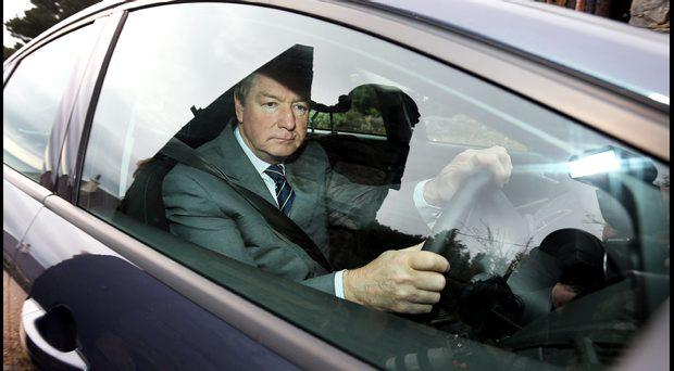 Brian O'Donnell leaving Gorse Hill in Killiney for court this morning