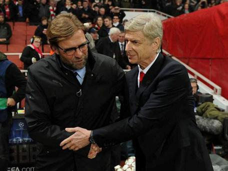 Jurgen Klopp and Arsene Wenger shake hands