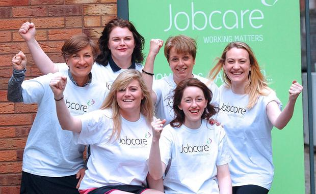 Gillian Brennan, Laura Rossney, Ruth may, Josie Enright, Front L-r Niamh Curtis and Helena Goss (Team VHI Herald fast jogger) who are running the VHI womens mini marathon for Jobcare