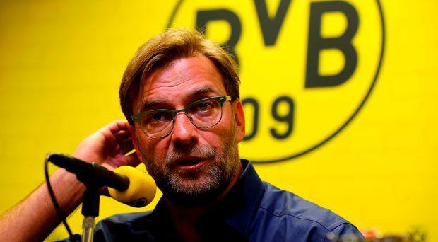 Head coach Juergen Klopp of Dortmund attends a press conference at Signal Iduna Park on April 15, 2015 in Dortmund, Germany