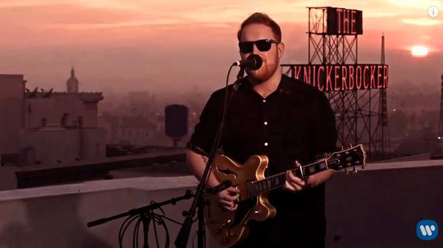 Gavin James performing on the rooftop of the Capital Records tower in New York
