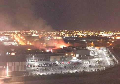 A view of the fire on set at Coronation Street. Pic: Twitter/Stephen Ryder