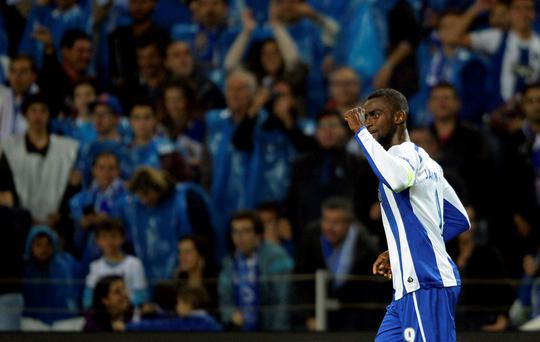 Porto's Colombian forward Jackson Martinez celebrates scoring against Bayern Munich at the at the Dragao stadium