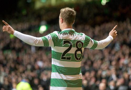 Celtic Leigh Griffiths celebrates scoring at Celtic Park