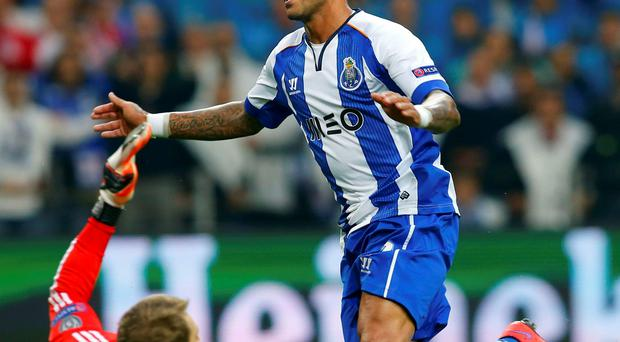 Porto's Ricardo Quaresma celebrates after scoring his second goal in last nights Champions League quarter-final clash with Bayern Munich in Porto last night