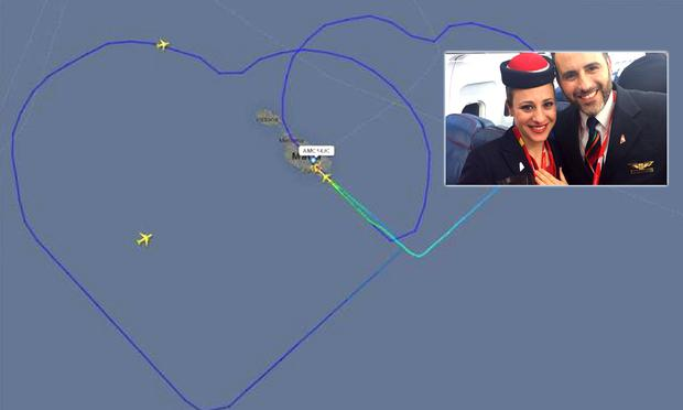 A strange shape in the skies? The flight path turned out to have been created by a couple of newlywed airline staff on board an Air Malta flight.
