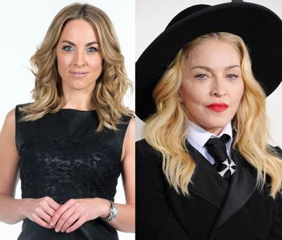 Kathryn Thomas (left) and Madonna (right)