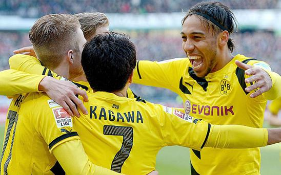 London calling: Pierre-Emerick Aubameyang (right) is being linked with Arsenal Photo: EPA