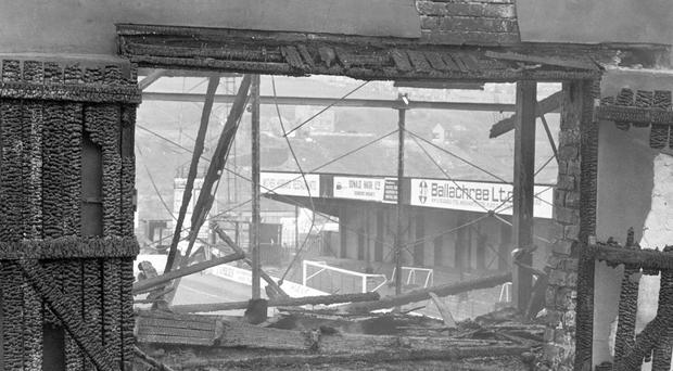 Charred exit gates in the main stand at Bradford City's Valley Parade stadium, where 56 people died and 265 were injured as a fire swept the packed stand just before half-time of the game against Lincoln City in 1985