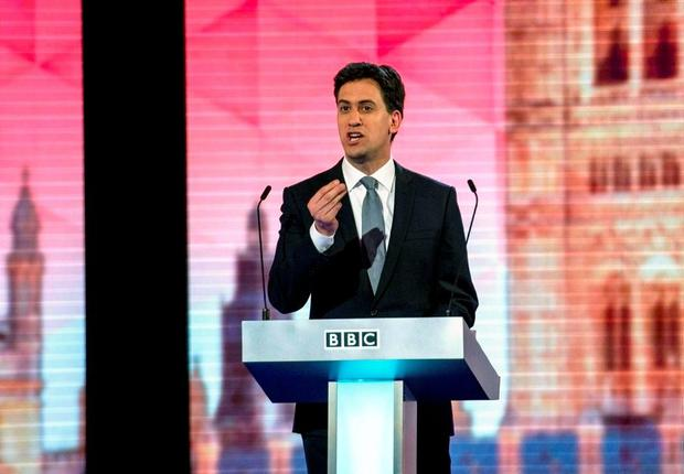Britain's opposition Labour Party leader Ed Miliband participates in the televised leaders' debate in London. Photo: Reuters