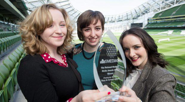 Pictured at a photocall to announce details of The 15th KBC National Student Media Awards at THe AVIVA Stadium today were News and Current Affairs Students, From left; Charlotte Ryan, TCD, Grainne Loughrane (UCD and Rachael Lavin TCD.