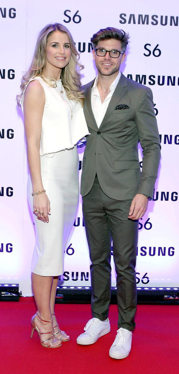 Vogue Williams and Darren Kennedy at the exclusive launch party for the Samsung Galaxy S6 at The Marker Hotel, Grand Canal Square , Dublin Pic:Brian McEvoy No repro fee for one use