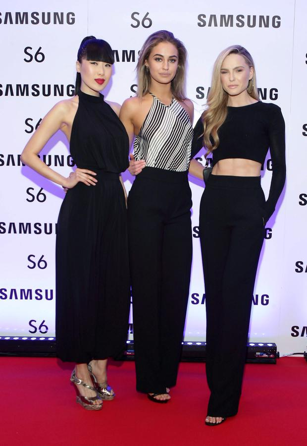 Yomiko Chen, Thalia Heffernan and Sarah Morrissey at the exclusive launch party for the Samsung Galaxy S6 at The Marker Hotel, Grand Canal Square , Dublin Pic:Brian McEvoy No repro fee for one use