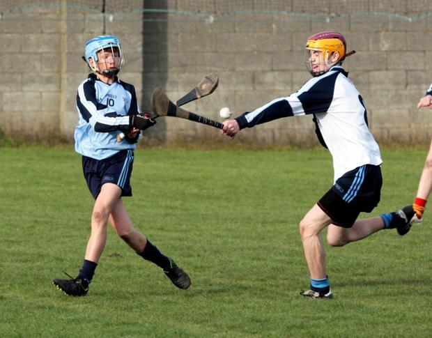 John Meagher Dublin North shoots despite a block from Tom Ahearne, Dublin South