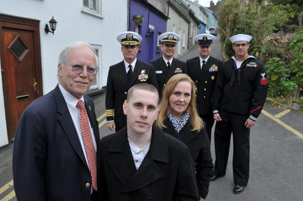Michael P Murphy's parents Dan and Maureen Murphy, his brother John, who is a NY police officer, and US Navy Seals Duncan Smith, Chris McCown, William Fensterer, and Petty Officer William Hutton from the USS Michael Murphy