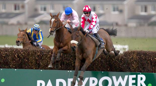 Gallant Oscar (right), here winning at Naas last season, will carry the colours of new owner JP McManus in today's Scottish Grand National