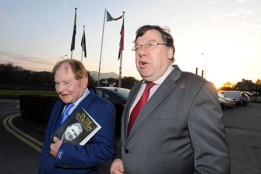 Former Taoiseach Brian Cowen at the launch of John O'Leary's memoir 'On The Doorsteps' in the Gleneagle Hotel, Killarney, Co Kerry, last night. Photo: Don MacMonagle
