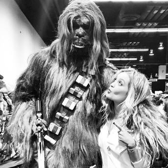 Laura Whitmore with Chewbaca