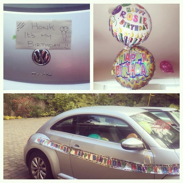 Rosanna's husband Wes decorated her car with stickers and balloons to celebrate her birthday