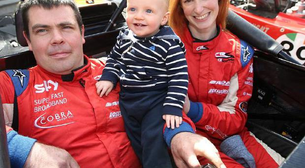 Top drivers husband and wife Simon and Deirdre McKinley with their 11-month-old son Rory