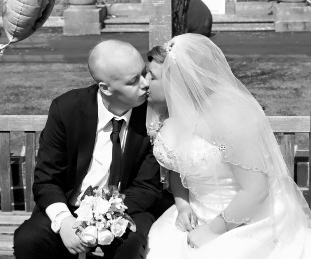 Jack and Laura pictured on their wedding day